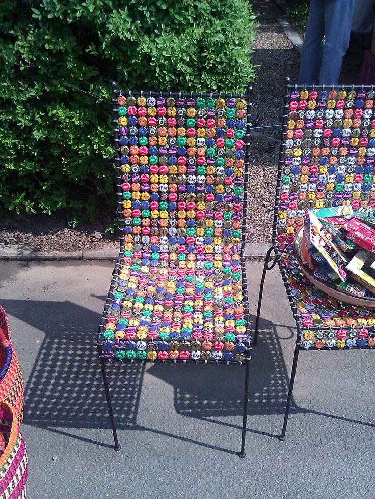 Stuhl aus Kronkorken  Kronkorken  Flaschen  Pinterest