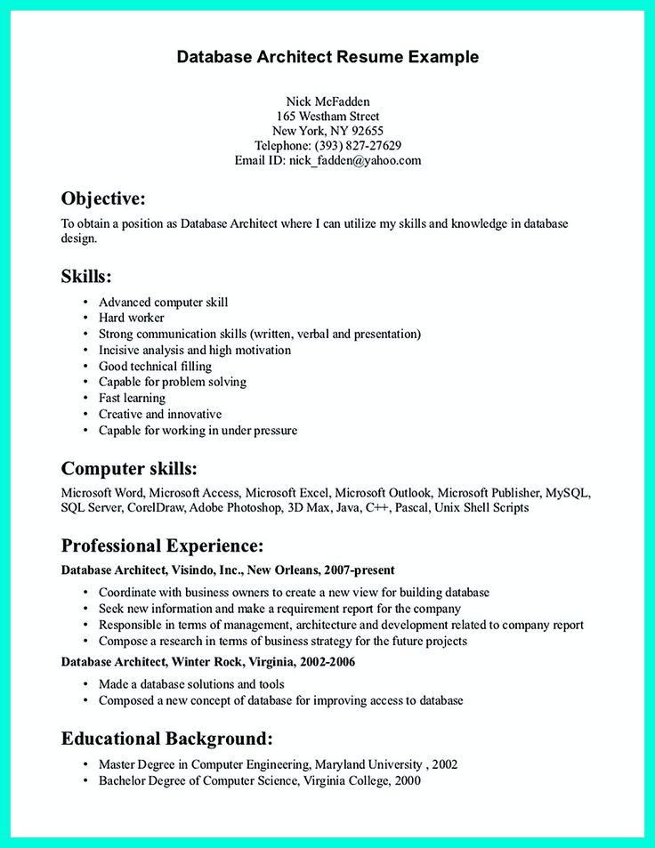 In The Data Architect Resume One Must Describe The