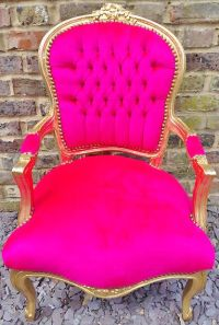 hot pink ant gold trim chair | Room | Pinterest | Chairs ...