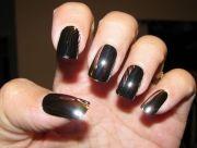 black chrome nail polish acrylic