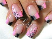 love pink and black nail design