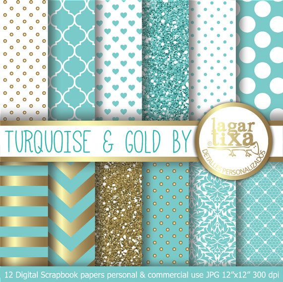 Turquoise  Gold Digital Paper Background teal Chevron