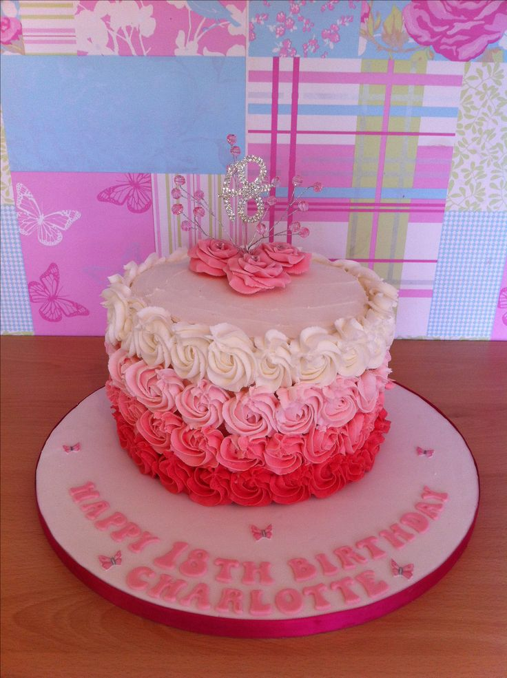 Buttercream Rose Piped 18th Birthday Cake Schyler Turns