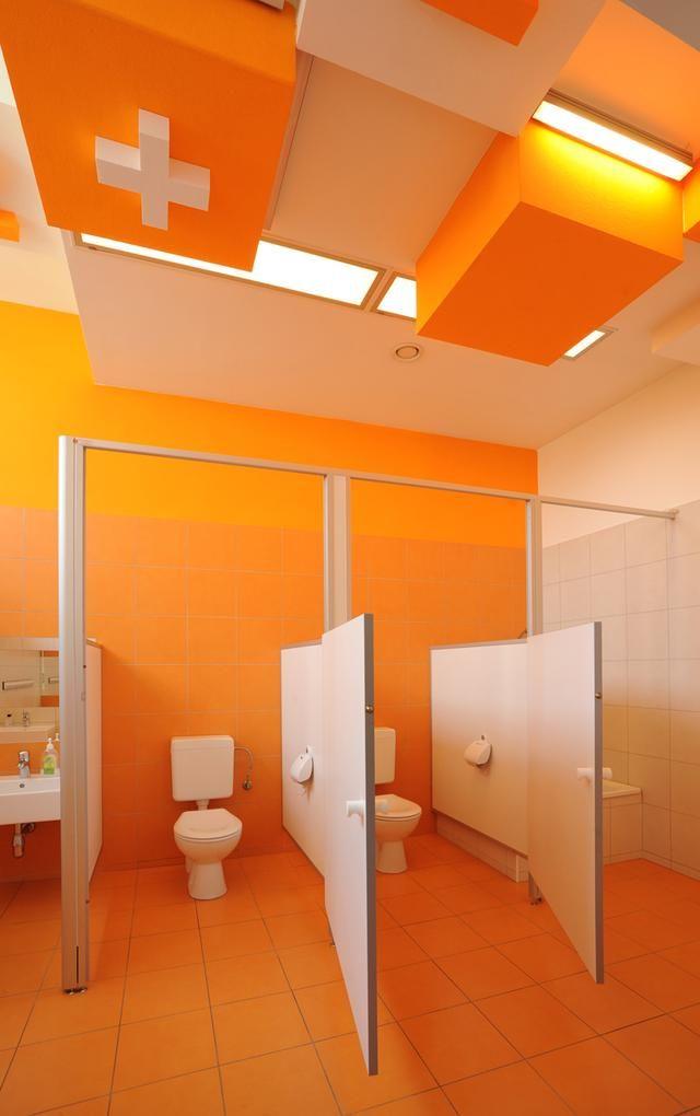 Colorful 'refurbishment' Kindergarten Bathrooms