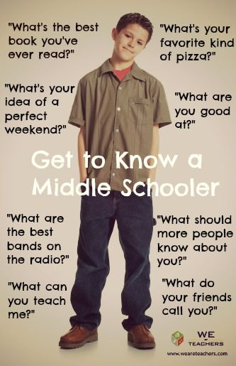 Get to Know a Middle Schooler – I'm gonna use this with the 6th grade math and science classes I'm taken o