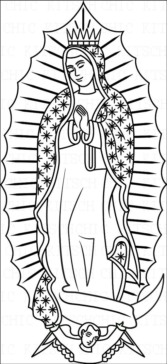 Color Your Own Our Lady of Guadalupe Digital Picture by