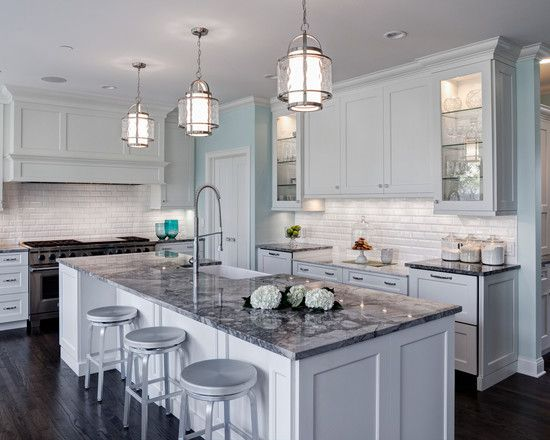 white kitchen with grey granite White kitchen. Traditional Light Grey Kitchen Island With