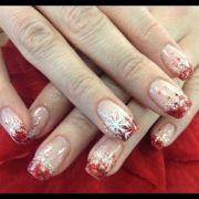 christmas nail art in silver red