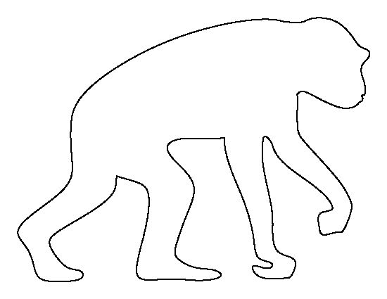 Chimpanzee pattern. Use the printable outline for crafts