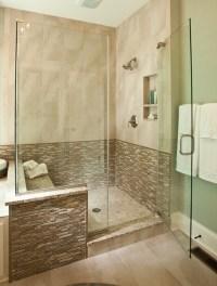 Modern walk-in shower inside the new custom model home by ...