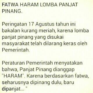 Fatwa haram lomba panjat pinang  indonesia 17an