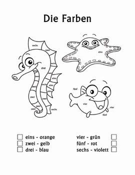 Die Farben color by number worksheets and coloring pages