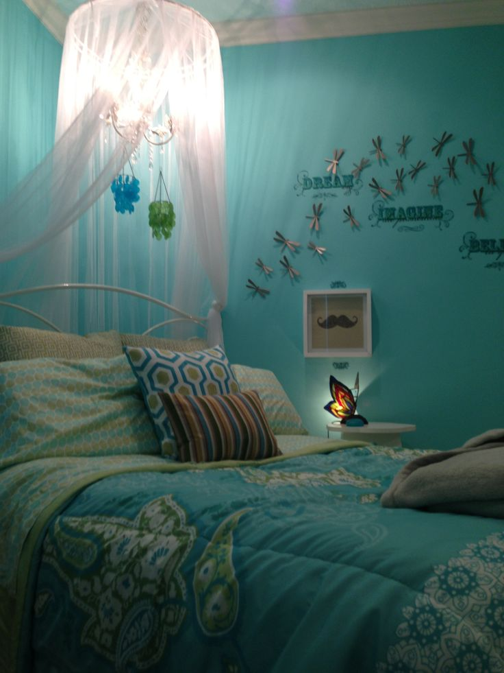 Preteen bedroom Turquoise and white  For the Home