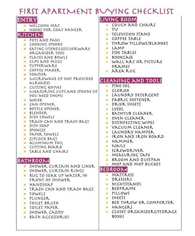 25 best ideas about College apartment checklist on Pinterest  Apartment essentials First
