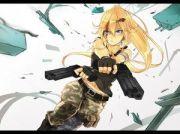 anime girl #bandage #blood #guns