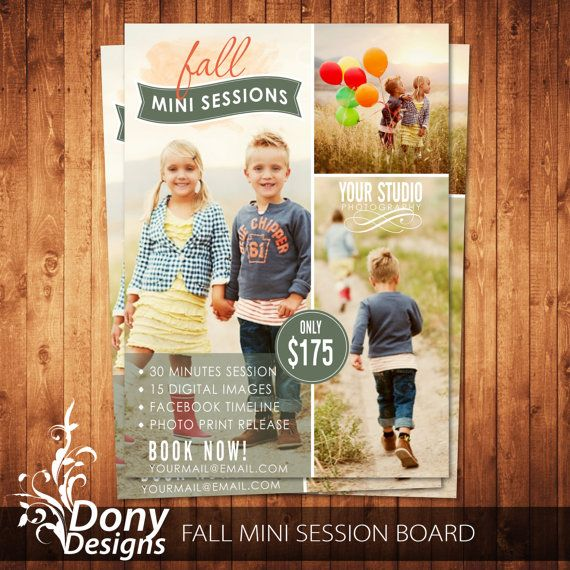 BUY 1 GET 1 FREE Fall Mini Session Photography Marketing Board Newsletter Template Photoshop