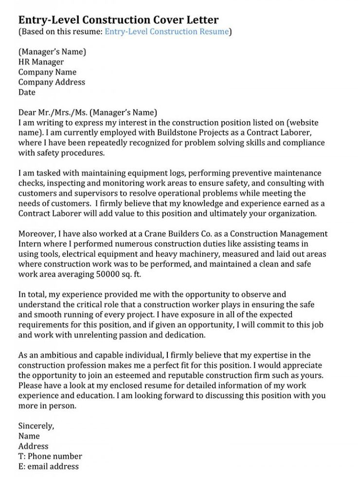 Construction Management Resume Entry Level  Letter Examples  Pinterest  Letter example and
