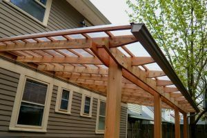 Pergola Patio Roof With Gutter Gardening Inside Outside