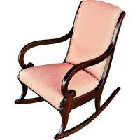 Vintage Hardwood Rocking Chair with Upholstered Back, Seat ...