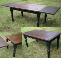 Custom Farm House Table, Painted Turned Legs, Distressed ...