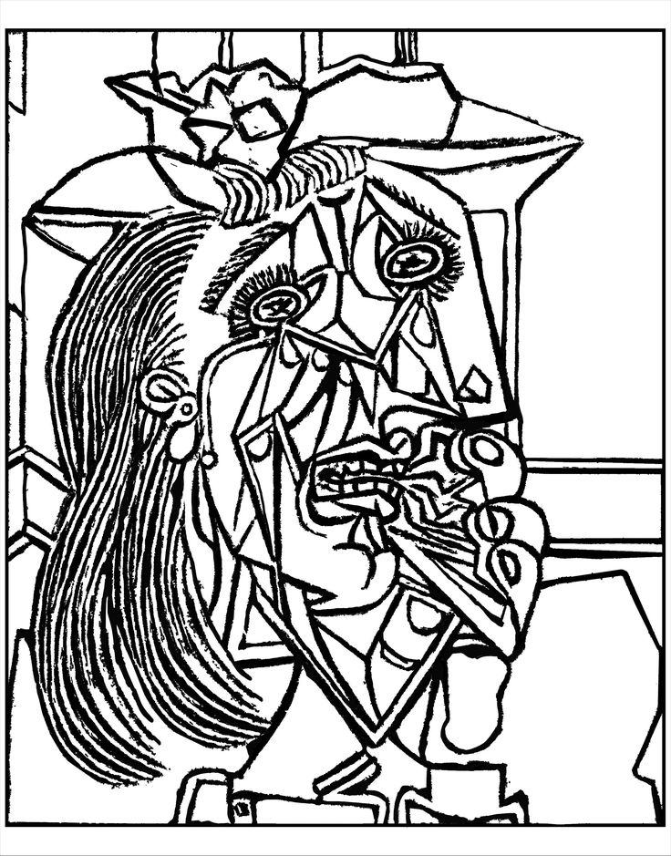 Free coloring page coloring-adult-from-picasso-weeping