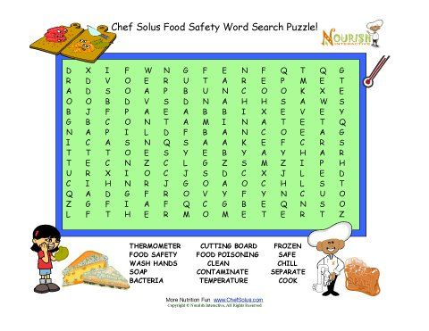 Food safety word search puzzle for children This word