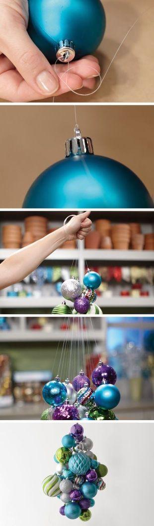 DIY Hanging Ornament Chandelier (picture tutorial):
