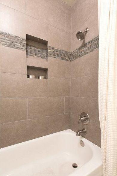 12 x 24 tile on bathtub shower surround  Bathroom guest  Pinterest  Shower surround Tile and