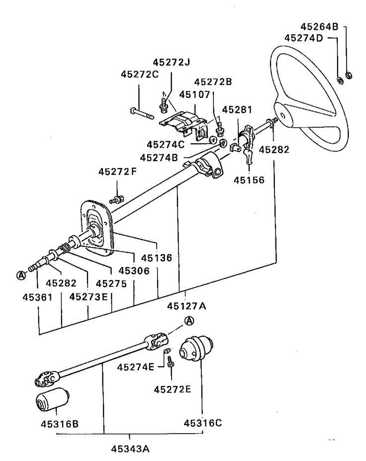 mitsubishi L200 BRACKET,STEERING COLUMN TILT LEVER BRASS