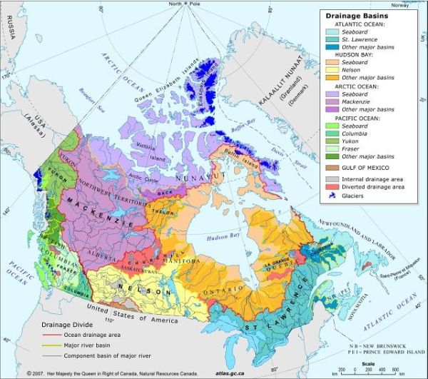 This map shows the five ocean drainage areas in Canada