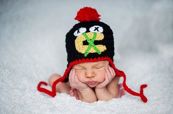 Crochet Chicago Blackhawks Hat