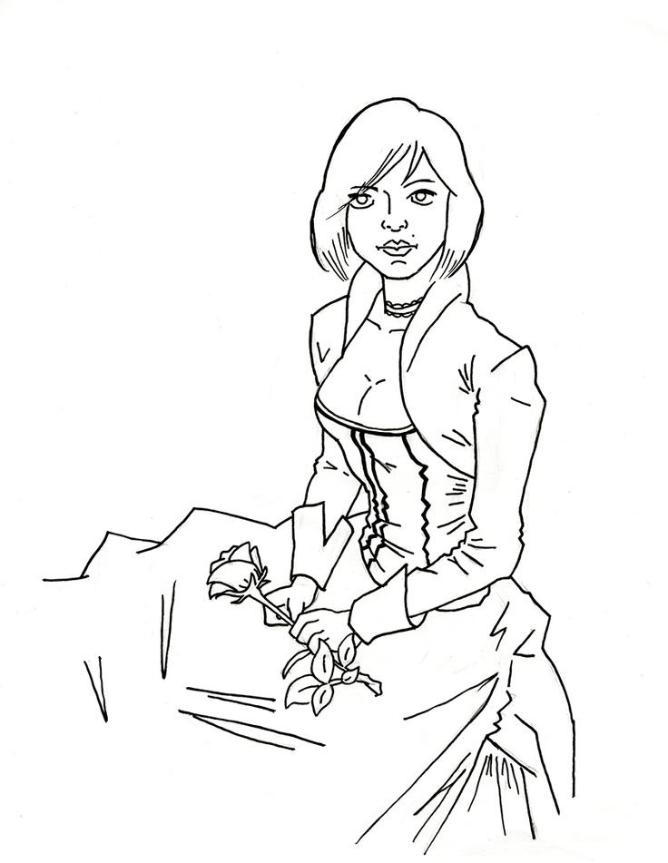 Elizabeth (Bioshock Infinite) Line drawing simple but