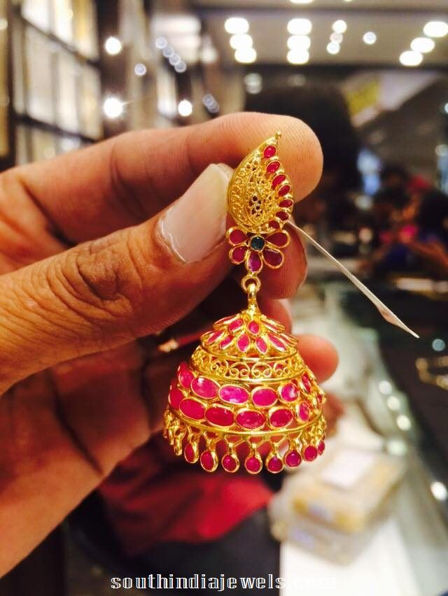 22K Gold Ruby Jhumka Latest Model Jhumkas Collections