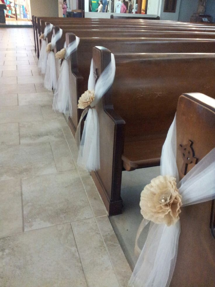 cheap church chairs tempurpedic desk chair pew decoration / tulle and paper flowers | my creations pinterest scrunchies, wedding flower