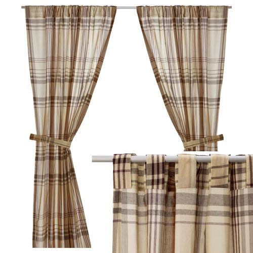 Benzy Curtains Semi Sheer Tan Beige Plaid Panels With Hidden Tab By IKEA IKEA Pinterest