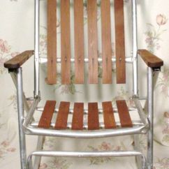 Aluminum Web Lawn Chairs Glider Rocking Chair Replacement Covers 1 Vintage Metal Folding Redwood Wood Slat Deck Camping Patio | Camping, Decks ...