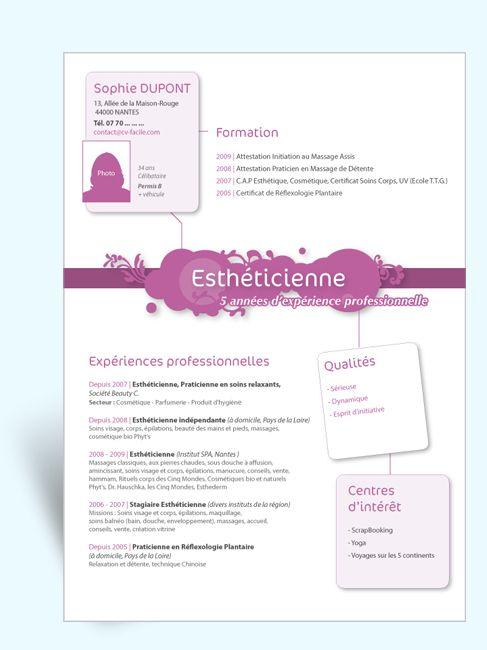 Modèle CV Original Estheticienne III ID CV