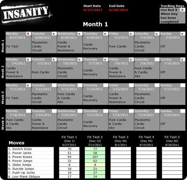 insanity workout schedule diet