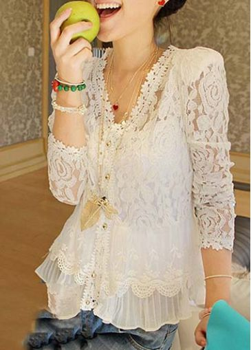 Long Sleeve V Neck White Lace Shirt