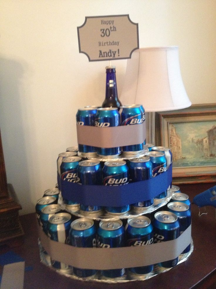 Beer Can Birthday Cake I Did This Pinterest Bottle