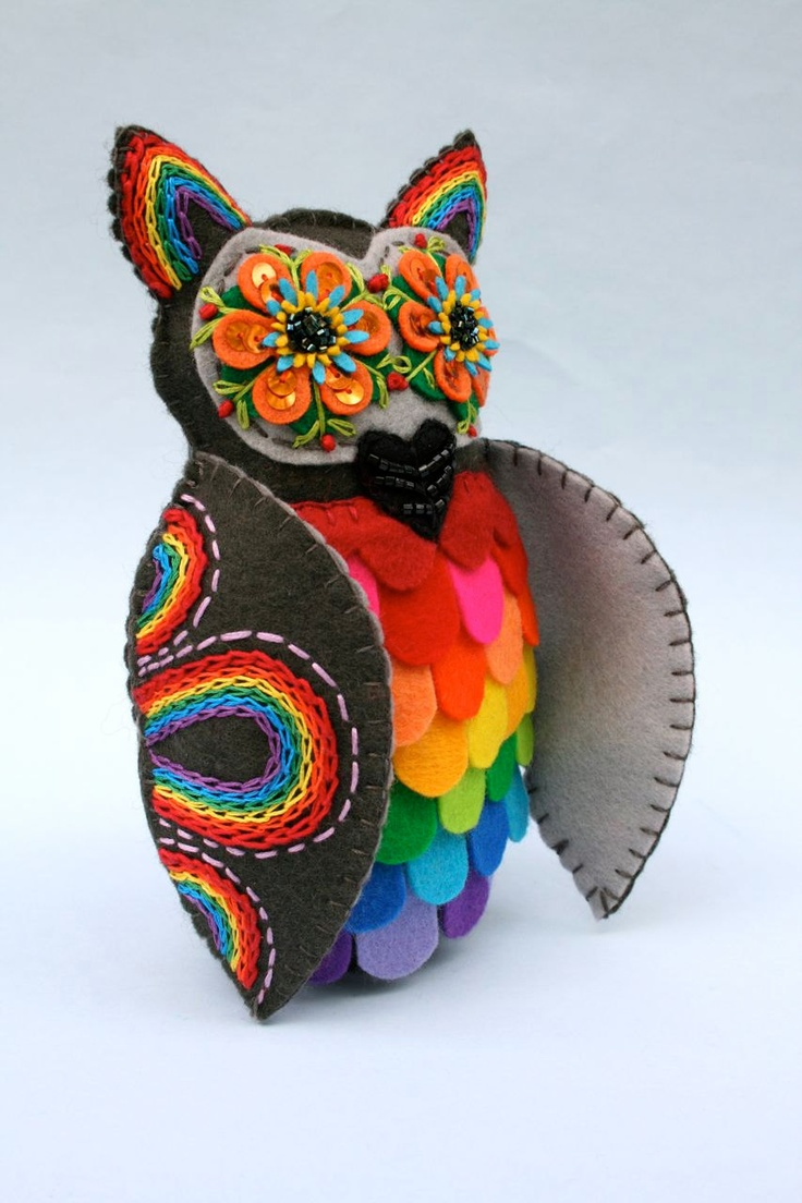 Special Order Reserved for CV Rainbow Owl  Mexican Folk