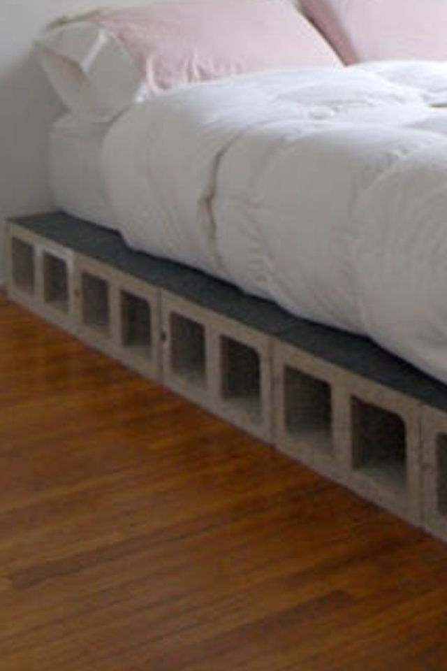 Cinder block bed string lights through the holes  cinder block designs  Pinterest  Beds