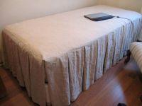 Cal King linen ruffle bedspread,skirted coverlet 22 32 ...