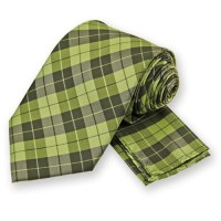 Lime Green Garden Plaid Tie and Pocket Square Set | Tie ...