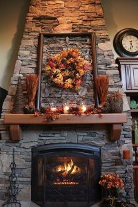 thanksgiving mantel! Love this cabin's fireplace and ...