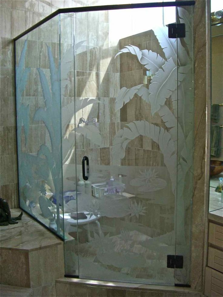 Tropical Palms Amp Lilly Pad Shower Enclosure Glass Shower