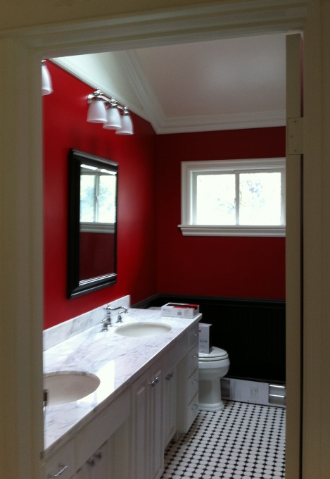 1000 images about Red  crimson  burgundy bathrooms on Pinterest  Places Benjamin moore and