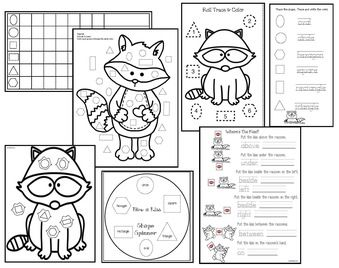 Kissing Hand Activities: Raccoon-themed shape games