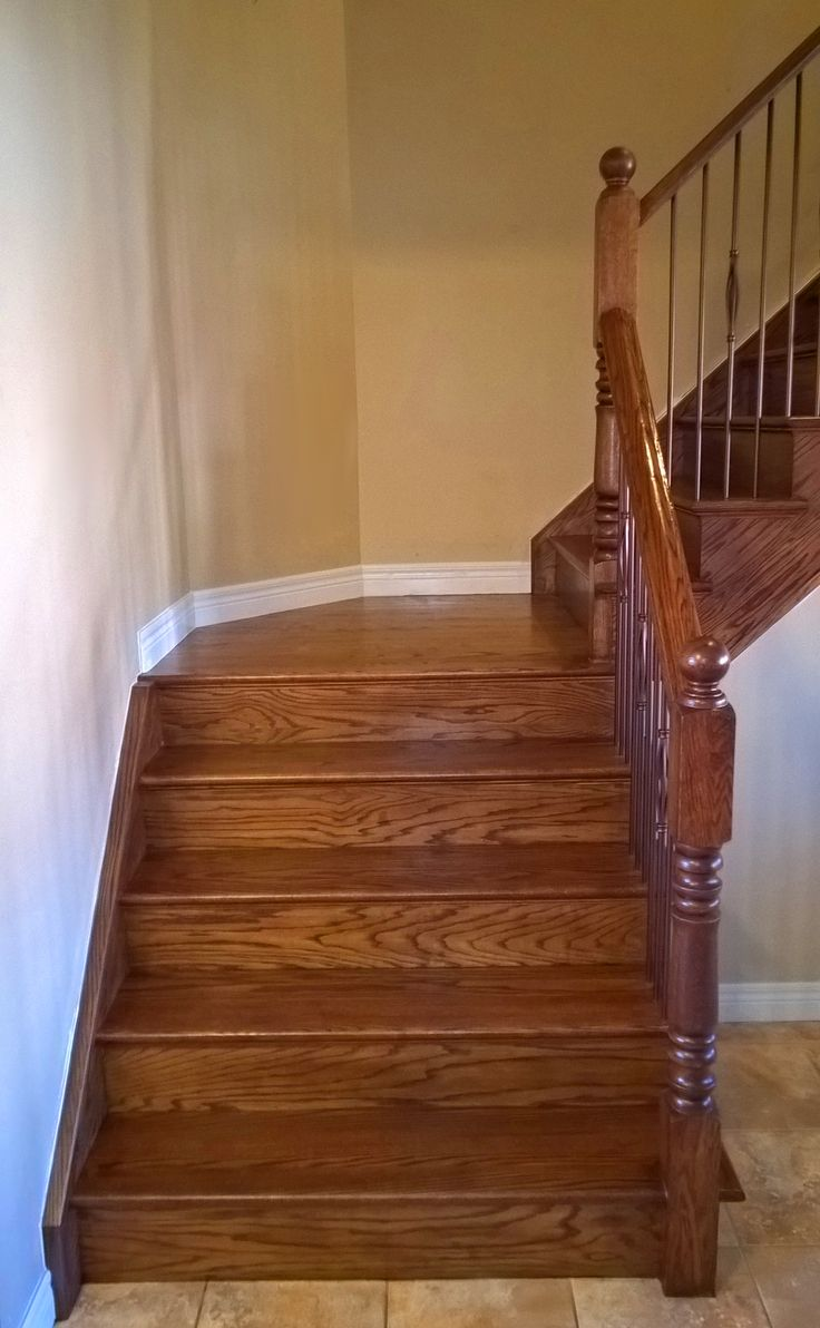 stairs cappingrefacing special walnut stain on red oak