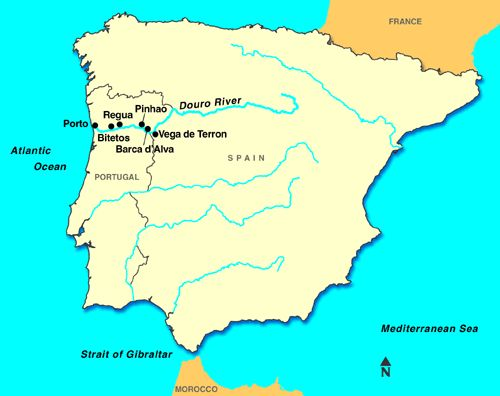 European River Map Douro River in Spain Places Europe